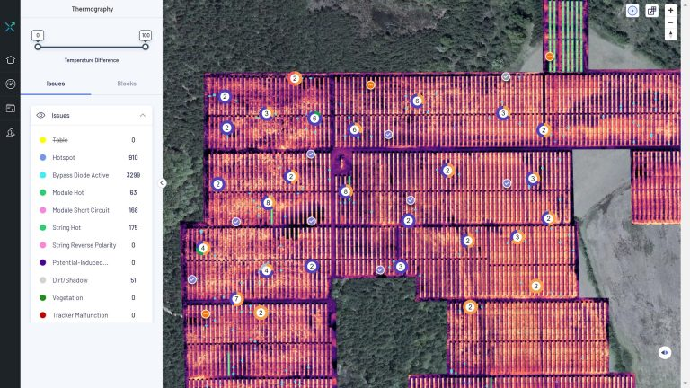 Tickets for solar site tasks with inverter, string and module numbers geolocated