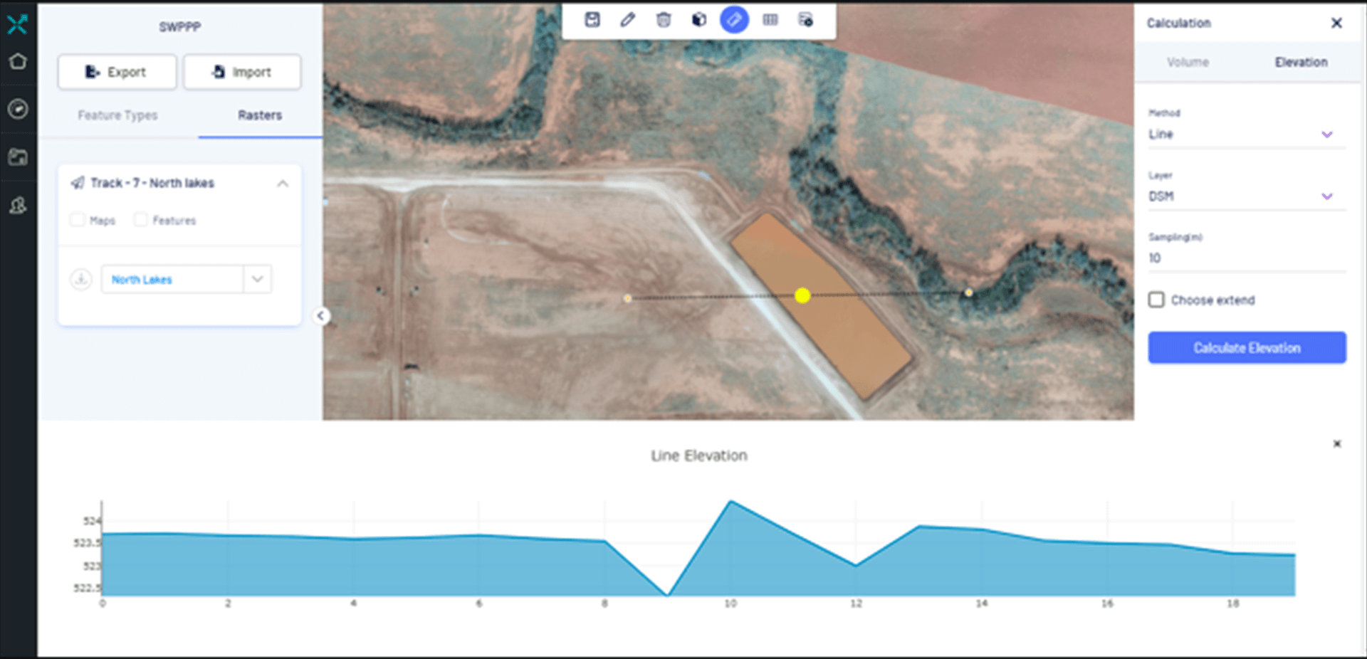 Elevation profiles, volumetric analytics, contour maps