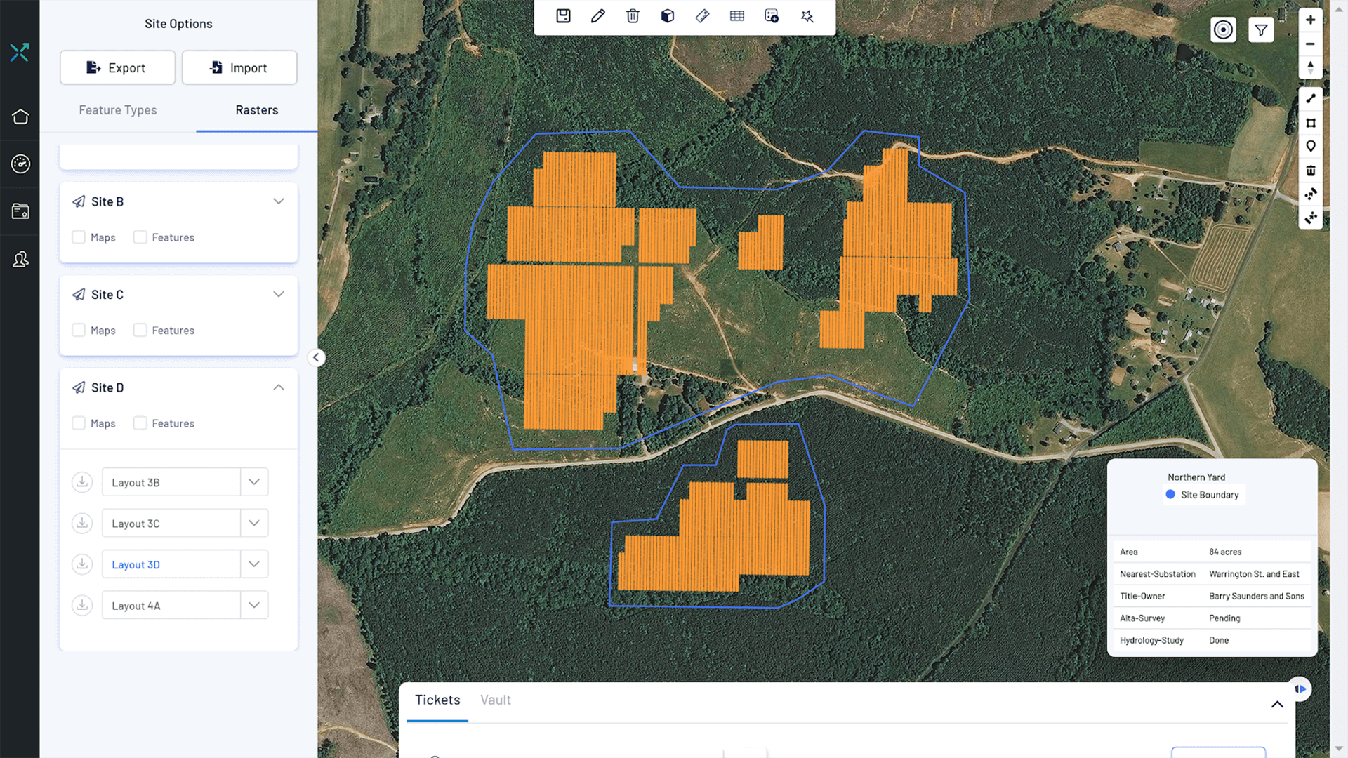 Solar plant PV design layout and drone data for topography